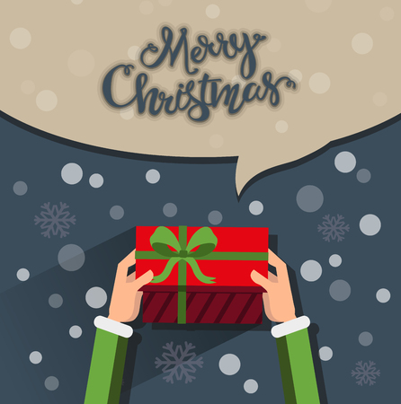 elf: Close up of elf hands holding a Christmas gift with a red bow. Flat style Christmas greeting card Illustration