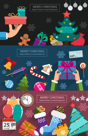 cajas navide�as: Regalos, adornos de pan de jengibre, y otros s�mbolos y objetos conceptuales de Navidad. situaci�n abstracta de Navidad. Ejemplo creativo de la serie de dise�o plano. fondos de concepto para el dise�o web y folletos.
