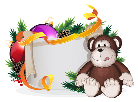 winterberry: Monkey toy and Christmas wreath with baubles  and parchment on a white background Illustration