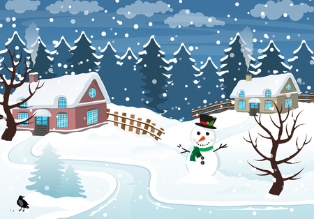 snowcovered: Snow-covered cottages and snowman in the foreground. Winter rural landscape