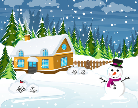 Snow-covered house and snowman in the foreground. Winter rural landscape