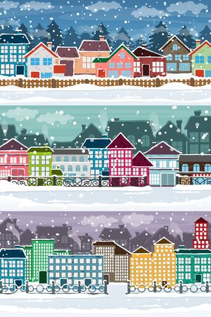 snow covered: Winter cityscapes. View of street with snow covered industrial and residential buildings. Creative illustration set of flat design