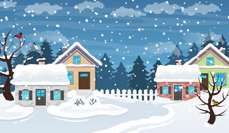 家は雪で覆われています。冬村のパノラマ シーン