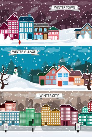 snow covered: Town, City, Village winter landscapes. View of street with snow covered industrial and residential buildings. Creative illustration set of flat design