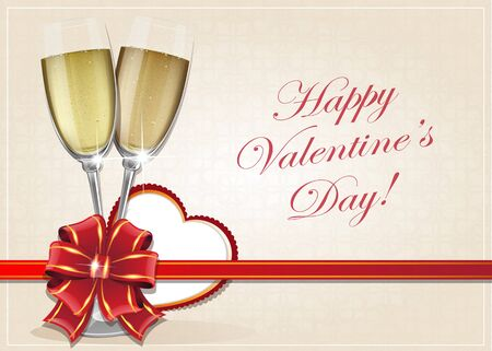 wine background: Glasses of champagne with bow and Valentine heart on a beige background Illustration
