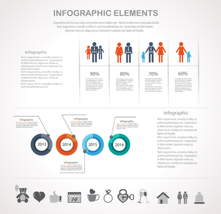 population growth: Infographic design template and Valentines day icons set. Template for diagram, graph, chart, flyer, presentation, print and website.  Illustration