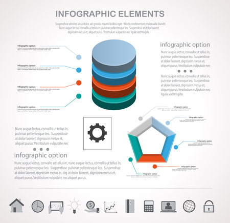 background business: Infographic design template and business icons set. Template for diagram, graph, chart, flyer, presentation, print and website . Business and finance concept options, parts, steps  data visualization.