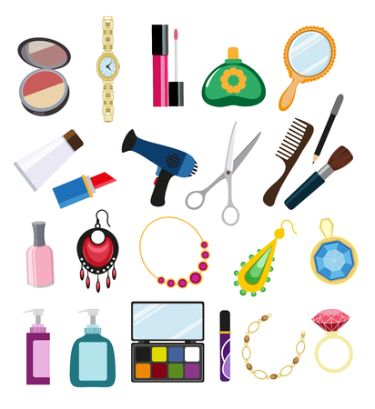 set up: Cosmetics, jewelry and other ladies accessories. icons in flat style on white background