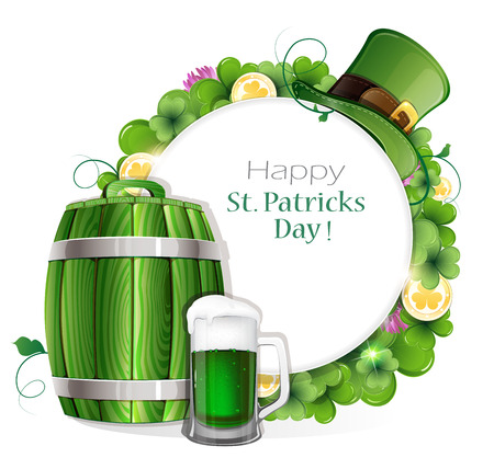 clover background: Beer barrel, glass and leprechaun hat on clover background with place for text.   St. Patricks Day background. Illustration
