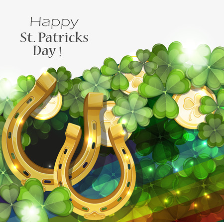 clover background: Gold coins and horseshoes on clover background with rainbow.   St. Patricks Day background.