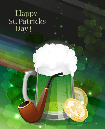 clover background: Glass of green beer, pipe and gold coins on clover background with rainbow.   St. Patricks Day background.