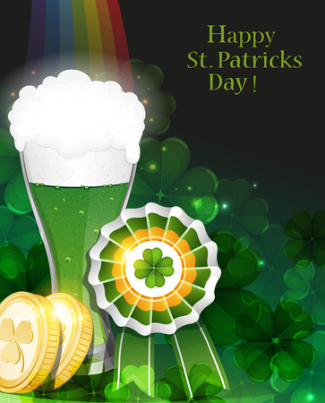 beer garden: Glass of green beer and gold coins on clover background with rainbow.   St. Patricks Day background.