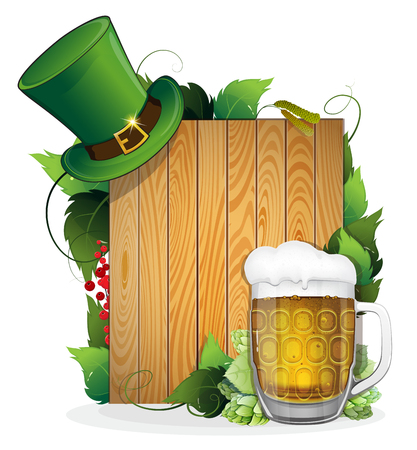 bowler hat: Glass of beer and bowler hat on wooden background. St. Patricks Day background.