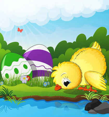 field flowers: Chicken and Easter eggs near the creek on a green spring meadow. Easter scene Illustration