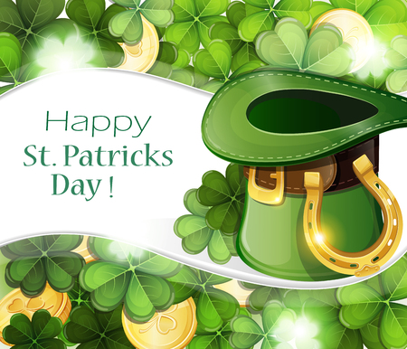 clover background: Leprechaun hat with horseshoe and gold coins on clover background.  St. Patricks Day background. Illustration