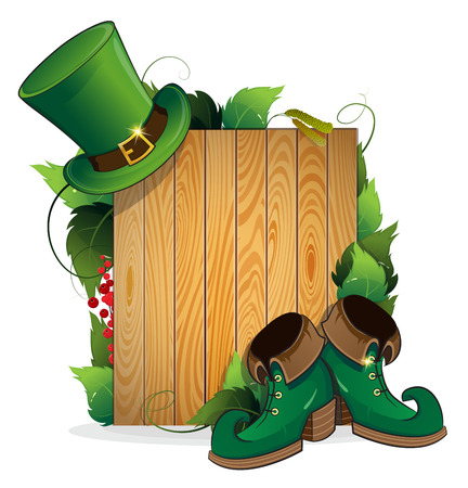 wooden shoes: Leprechaun shoes and bowler hat on wooden background. St. Patricks Day background.