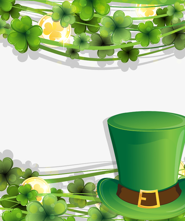 Leprechaun hat, clover and gold coins. St. Patrick's Day background.