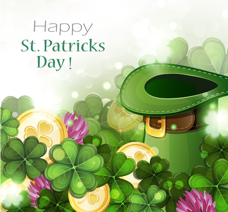 Leprechaun hat and gold coins on clover background.  St. Patricks Day background.