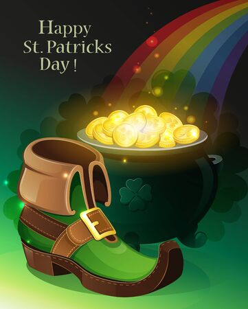 gold holidays: Leprechaun shoes, pot with gold coins and rainbow on green background. St. Patricks Day background. Illustration