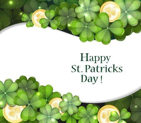 Leprechaun gold coins and clover. St. Patrick's Day background.