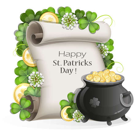 white gold: Leprechaun pot of gold and paper scroll with clover on a white background. St. Patricks Day symbols.