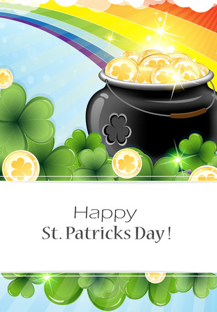 plant pot: Leprechaun pot with gold coins and clover on rainbow background . St. Patricks Day background.