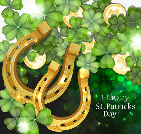 clover background: Gold coins and horseshoes on clover background. St. patricks day abstract  background
