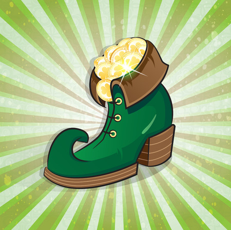patricks day: Leprechaun shoe with gold coins on a striped background. St. Patricks Day symbol