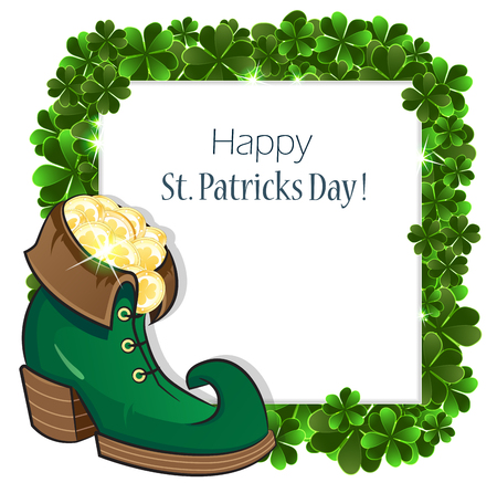 clover background: Leprechaun shoe with gold coins on clover background. St. Patricks Day abstract background.