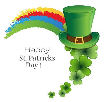 Rainbow, bowler hat and clover on white background. St. Patrick's Day symbol