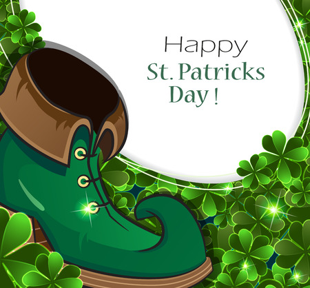 clover background: Leprechaun shoe on clover background with place for text. St. Patricks Day abstract background.