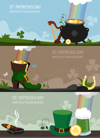 Set of St. Patricks Day illustrations in flat style with pot of gold, Leprechaun shoe, hat and other traditional symbols. Abstract concept backgrounds for web design Иллюстрация