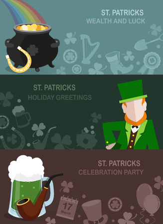 leprechaun hat: Set of St. Patricks Day illustrations in a flat style with a Leprechaun, pot of gold, mug of beer and other traditional symbols. Abstract concept backgrounds for web design