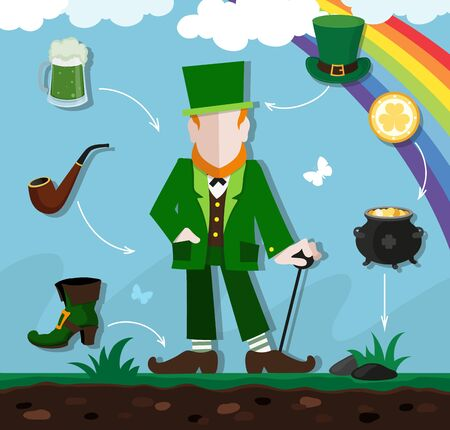 green clothes: Leprechaun in green clothes with a cane in the hand on a spring meadow. Around him traditional symbols of St. Patricks Day. Flat style icons