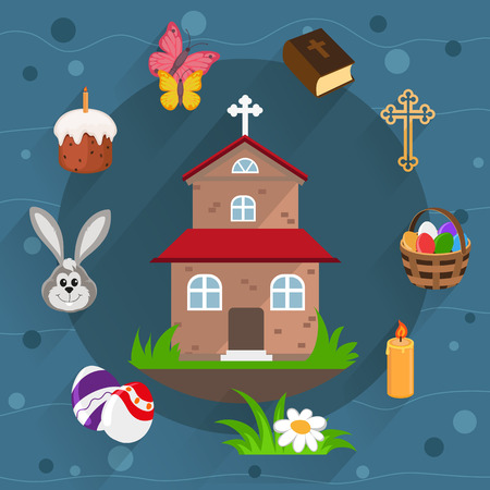 church group: Church, Holy Bible, basket with eggs and other Easter icons in flat style on a blue background