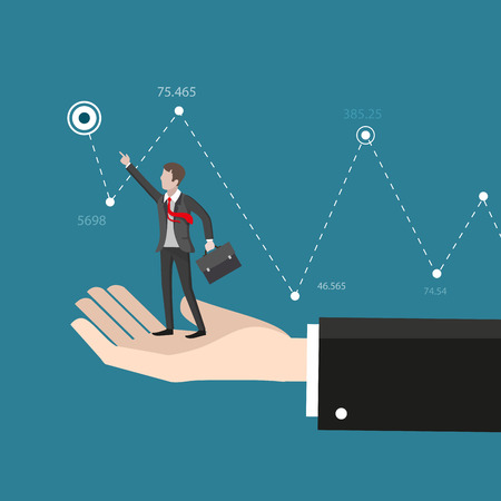 business help: Business help and advice. Hand helps the businessman reach target. Business concept Illustration