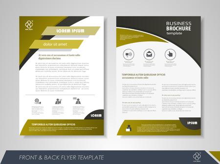 前面と背面のページ パンフレット チラシ デザイン ビジネスのアイコンとインフォ グラフィック要素。
