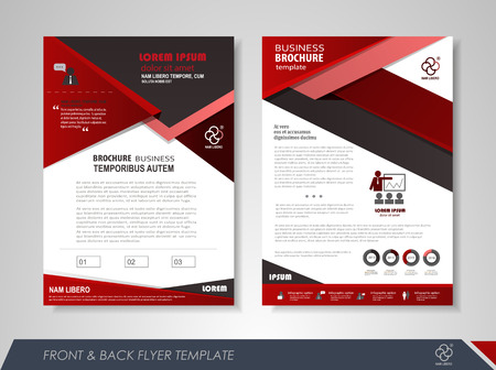 report cover: Front and back page brochure design with business icons and infographic elements.