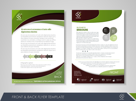 report card: Front and back page brochure design with business icons and infographic elements.