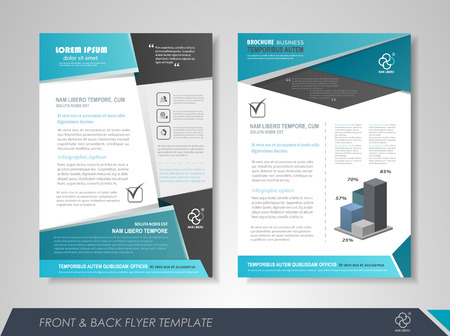 report icon: Front and back page brochure design with business icons and infographic elements.