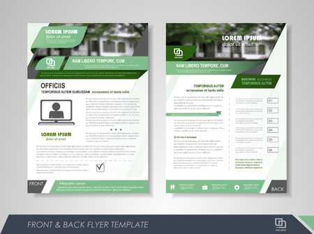 presentation card: Front and back page brochure flyer design with business icons and infographic elements.