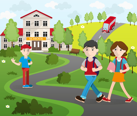 back view student: Two boys and a girl with backpacks going to school.  Back to school concept illustration.