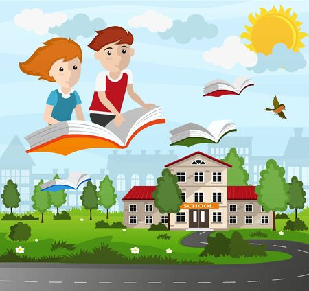 Boy and girl flying on a book. Back to school concept illustration