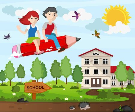 back view student: Boy and girl flying on a pencil. Back to school concept illustration Illustration