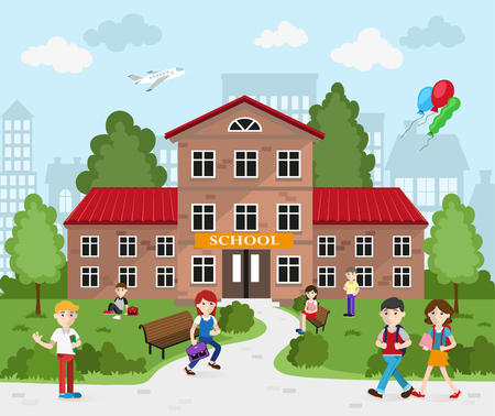 Schoolboys and schoolgirls with books and backpacks going to school.  Back to school concept illustration