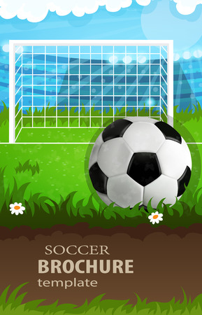 Soccer gate and ball on grass. Abstract soccer background