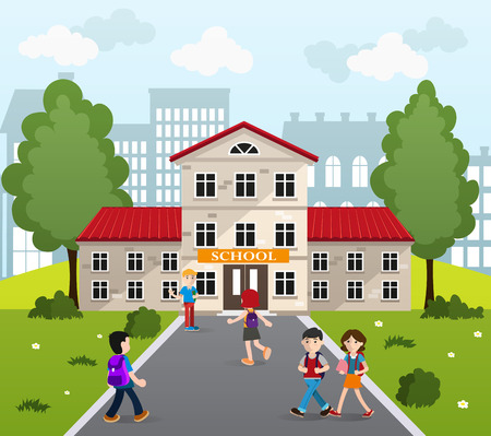 schoolgirls: Schoolboys and schoolgirls with books and backpacks going to school.  Back to school concept illustration