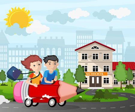 city scene: Boy and girl driving a pencil car. Back to school concept illustration