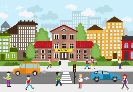 busy city: Children going to school on a busy city street. School and other buildings in the background. City landscape. Back to school concept illustration