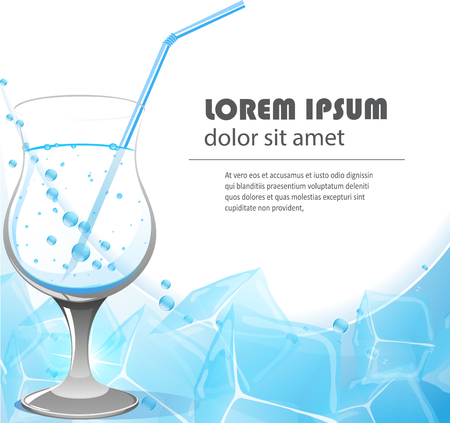crystal clear: Glass of crystal clear water with a straw on a blue background with ice cubes Illustration